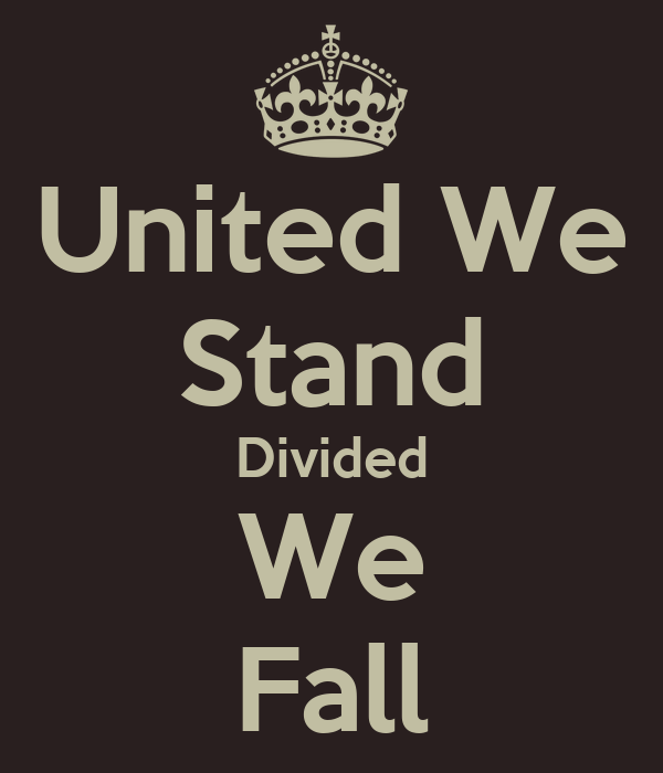 united we stand, divided we fall essay Divided we stand, united we fall  who is openly interested in a weaker and more divided west which is less threatening as a competitor and easier to influence.