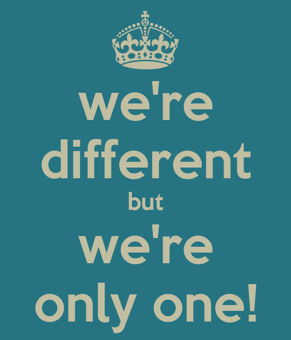 we re different but we re only one   keep calm and carry