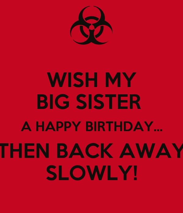 Wish My Big Sister A Happy Birthday Then Back Away Happy Birthday Wishes To My Big