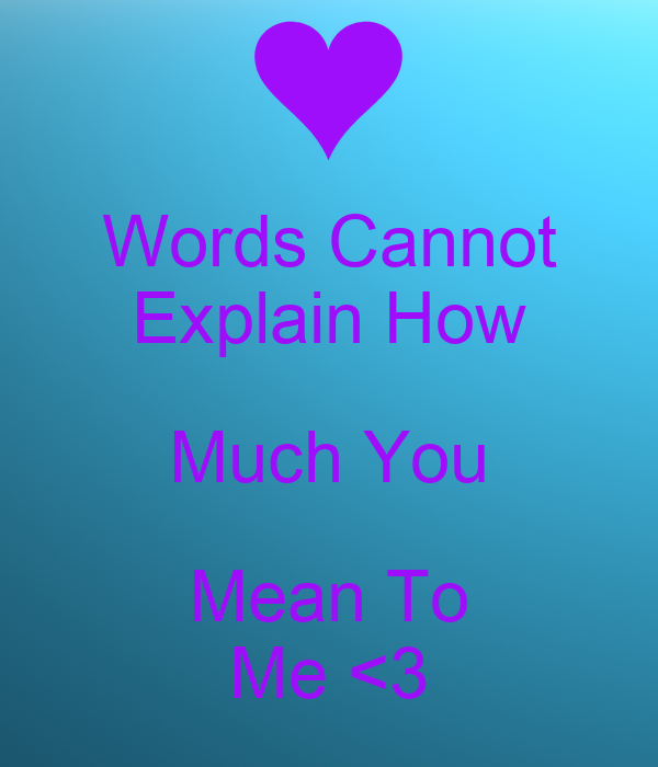 Words Cannot Explain How Much You Mean To Me 3 Poster Anonymous