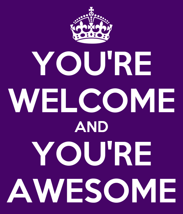 You Re Awesome: YOU'RE WELCOME AND YOU'RE AWESOME