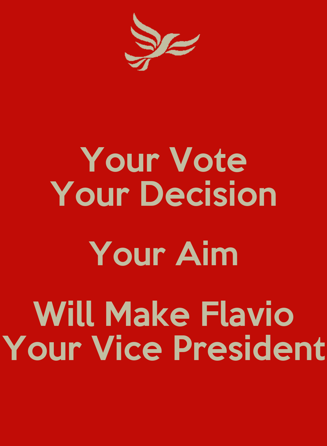 Your Vote Your Decision Your Aim Will Make Flavio Your ...